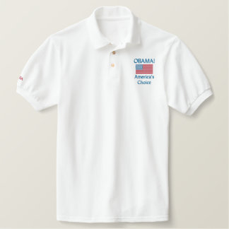 Obama! A escolha de América Camiseta Bordada Polo
