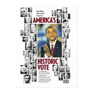 Obama: Cartão histórico do voto de América