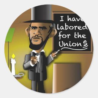 Obama como Lincoln para as uniões Adesivo Em Formato Redondo