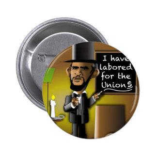 Obama como Lincoln para as uniões Bóton Redondo 5.08cm
