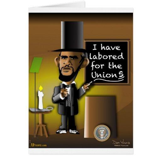 Obama como Lincoln para as uniões Cartão