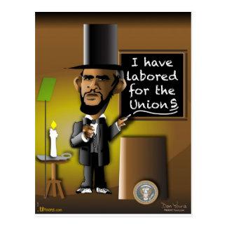 Obama como Lincoln para as uniões Cartão Postal