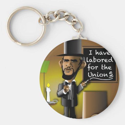 Obama como Lincoln para as uniões Chaveiros