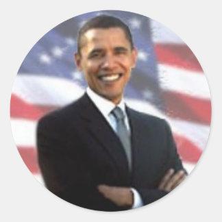 Obama e a bandeira americana adesivo redondo