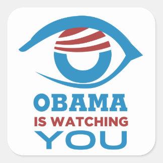Obama ESTÁ OLHANDO-O PRISMA do olho de Obama Adesivo Em Forma Quadrada