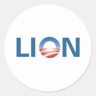 Obama o leão adesivo em formato redondo