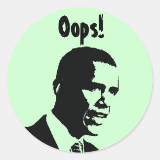 Obama Oops! Adesivo Redondo