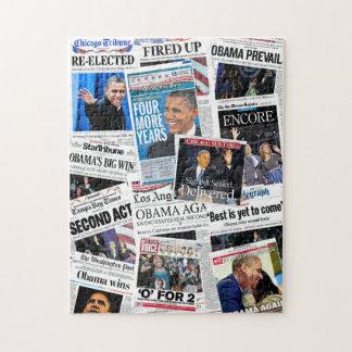 Obama Re-Elegeu o quebra-cabeça da colagem do jorn