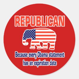 Obama republicano engraçado adesivos em formato redondos