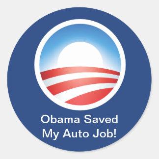 Obama salvar meu auto trabalho adesivos redondos