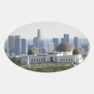 Obervatório de Griffith e centro Los Angeles Adesivo Oval