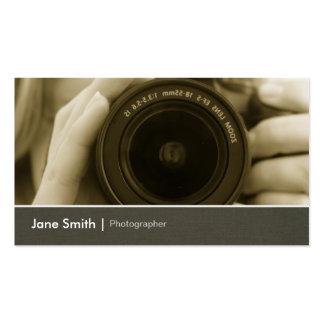 Objectiva chique do jornalista fotográfico do cartão de visita