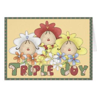 Objectivas triplas triplas da alegria cartão comemorativo