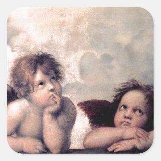 Obra-prima italiana doce do renascimento dos anjos adesivo quadrado