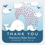 Obrigado à moda bonito do bebê das baleias brancas adesivos quadrados