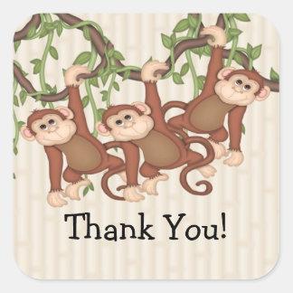 Obrigado! A objectiva tripla Monkeys o chá de Adesivo Quadrado