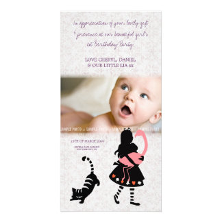 Obrigado Alice no cartão com fotos do bebê do país