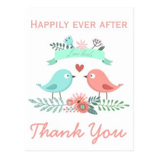 Obrigado amar os pássaros azuis e o casamento cartão postal