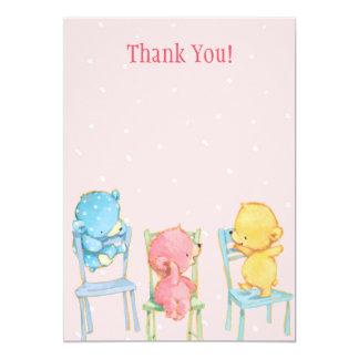 Obrigado amarelo, cor-de-rosa, e azul dos ursos convite 12.7 x 17.78cm