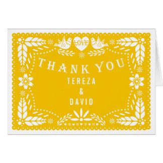 Obrigado amarelo do casamento dos pássaros do amor cartão de nota