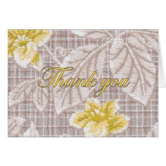 Obrigado amarelo do papel de parede do vintage de  cartão