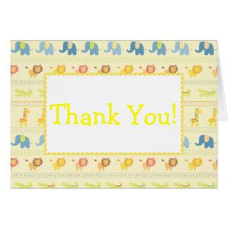 Obrigado amarelo dos animais do bebê você cartões