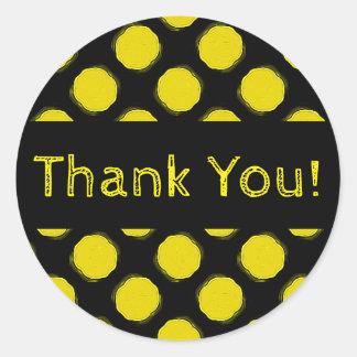 Obrigado amarelo e preto brilhante distorcido das adesivo redondo