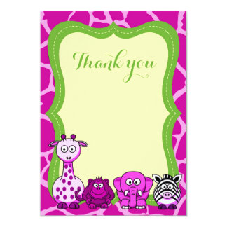 Obrigado animal cor-de-rosa da menina do safari de convite 12.7 x 17.78cm