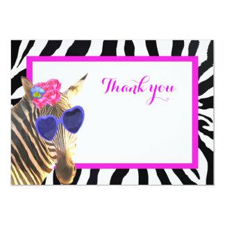 Obrigado animal da forma do safari bonito da zebra convite 12.7 x 17.78cm