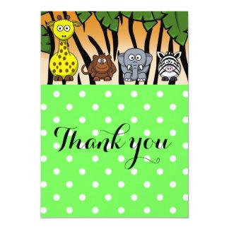 Obrigado animal do bebê das bolinhas do safari de convite 12.7 x 17.78cm
