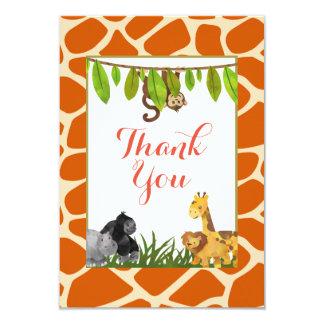 Obrigado animal do partido do tema da selva do convite 8.89 x 12.7cm