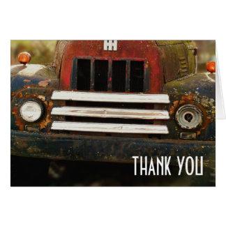 Obrigado antigo da grade do caminhão você cartão comemorativo