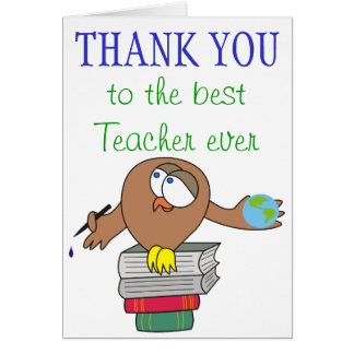 Obrigado aos melhores cartões do professor nunca