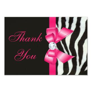 Obrigado arco do rosa quente da zebra do casamento convite 8.89 x 12.7cm