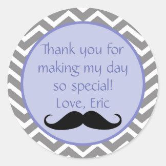 Obrigado azul da etiqueta do bigode você etiqueta