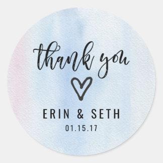 Obrigado azul da etiqueta do favor do casamento