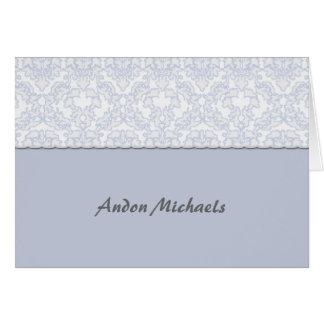 Obrigado azul da foto do damasco elegante você cartão de nota