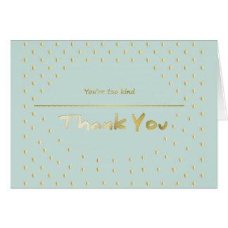 Obrigado azul da hortelã dourada dos corações você cartão