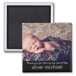 Obrigado azul da lembrança da foto doce do bebê vo imã de geladeira
