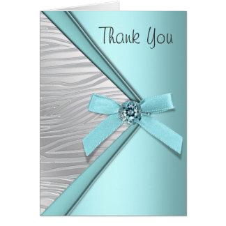 Obrigado azul da zebra da cerceta você cartões