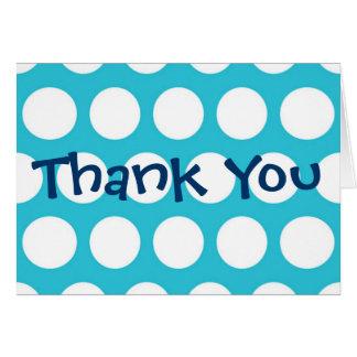 Obrigado azul das bolinhas você cartões