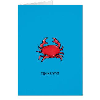 Obrigado azul do caranguejo vermelho você cartão