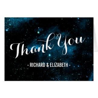 Obrigado azul do casamento da galáxia você cartões