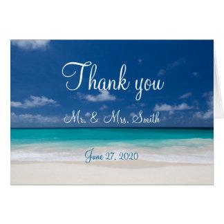 Obrigado azul do casamento de praia você cartões