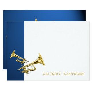 Obrigado azul do ouro da trombeta você cartão liso