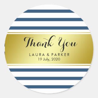 Obrigado azul listrado da folha de ouro você adesivo