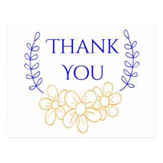 Obrigado azul você flores florais do ouro da cartão postal