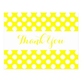 Obrigado bolinhas amarelas & brancas cartão postal