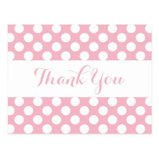 Obrigado bolinhas cor-de-rosa & brancas - partido, cartão postal