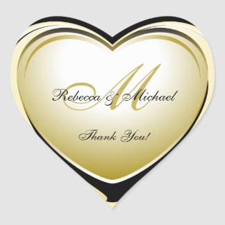 Obrigado bonito do casamento do coração do ouro adesivo coração